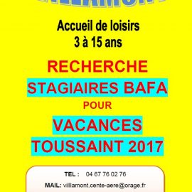 CHERCHE STAGIAIRES BAFA VACANCES DE TOUSSAINT 2017