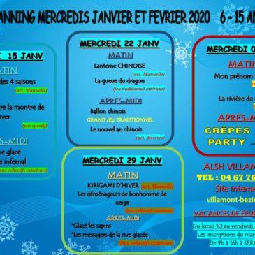 PROGRAMMES DES MERCREDIS DE JANVIER ET FÉVRIER 2020